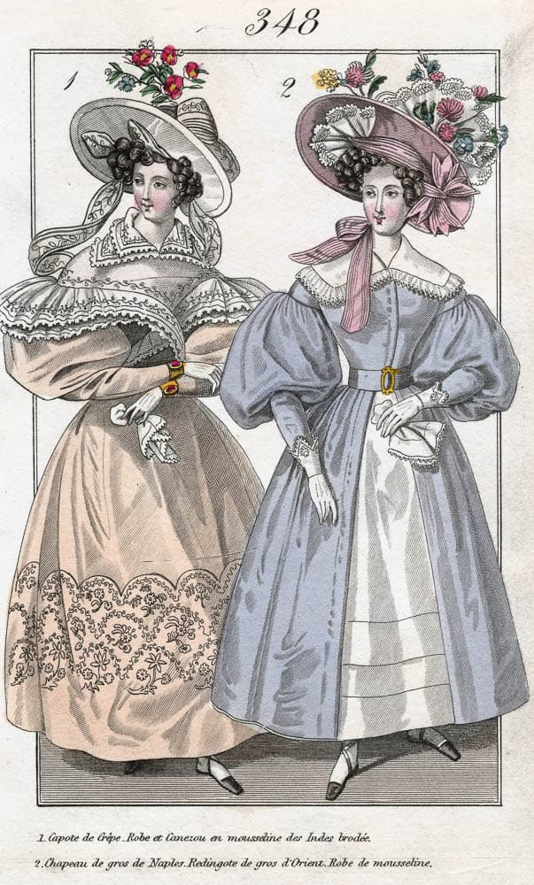 pg 125 French ladies in fine muslin Wearing muslin became the rage in France and these two ladies are showing off their dresses. Courtesy of hand painting from the 19th century, Drik Collection.