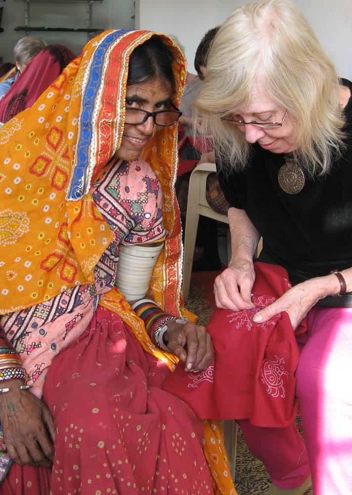 Barbara Mullan with tutor Nanabai Bijal at Qasab