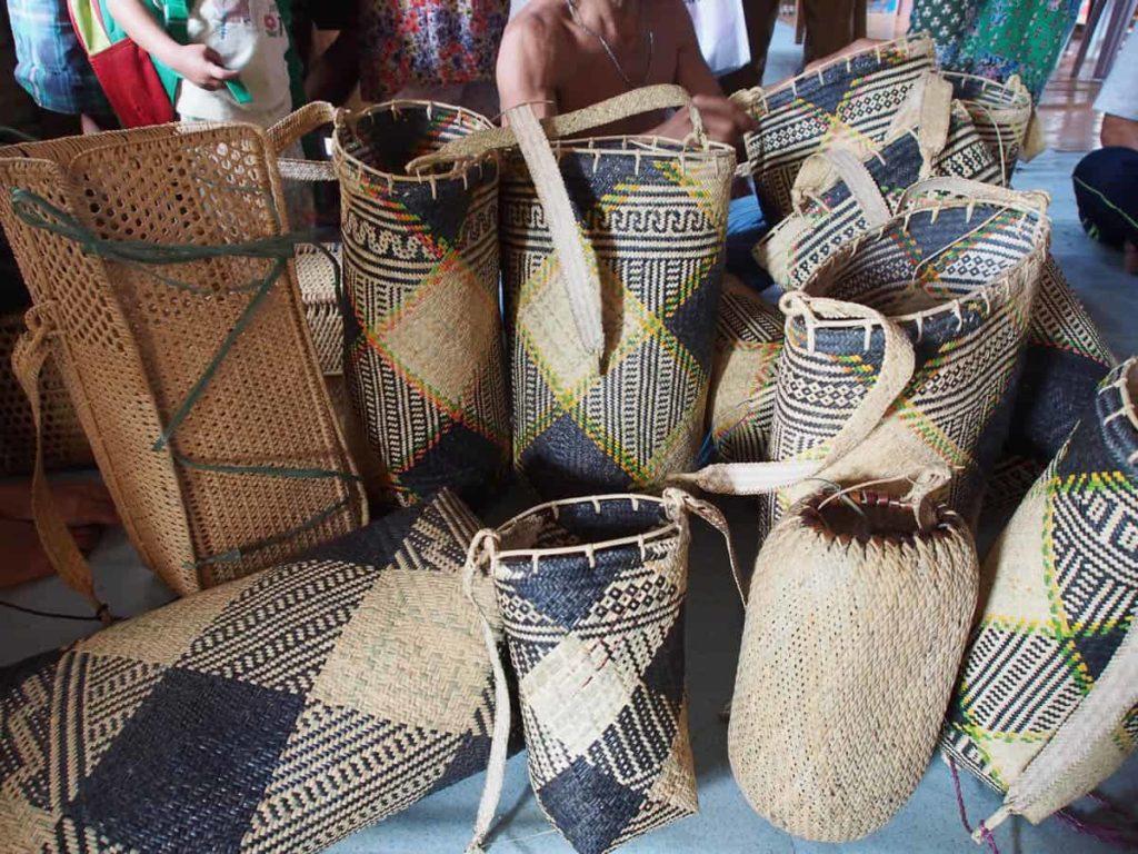 Long Lamam artisans, Penan baskets, 2015, rattan, largest basket 40cm x 28cm x 20cm, photo Elaine Chan