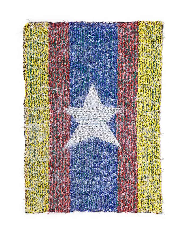 "Jakkai Siributr, The Outlaw's Flags, 2016, beads and fabric, dimensions variable (Through 21 invented ""flags"" —embroidered