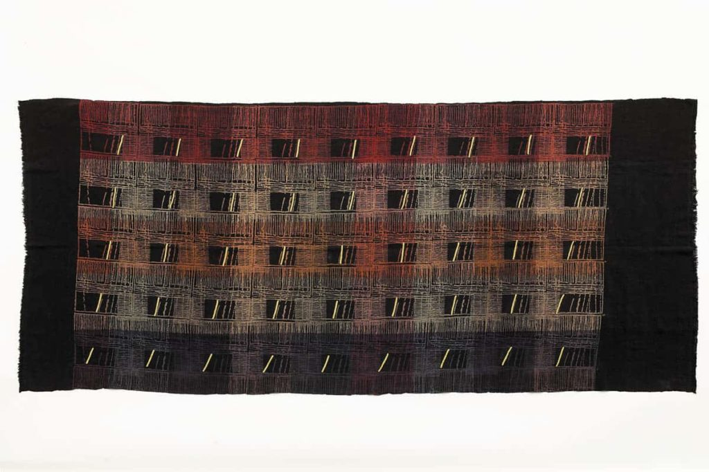 Maggie Baxter. Here and There series. 2004. Hand woven cotton, resist print with mineral iron dye, Pakko hand embroidery using rayon thread. 2004. Photographer of the artwork: Robert Frith Acorn Studio.