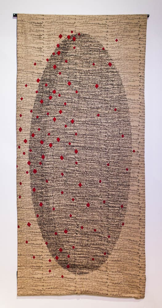 Maggie Baxter. Poetics of Nothing series ( 1 of 3). Direct block printing using organic iron dye on handwoven cotton with Ahir hand embroidery .250cm x 112cm. 2016. Photographer: Atul Dube