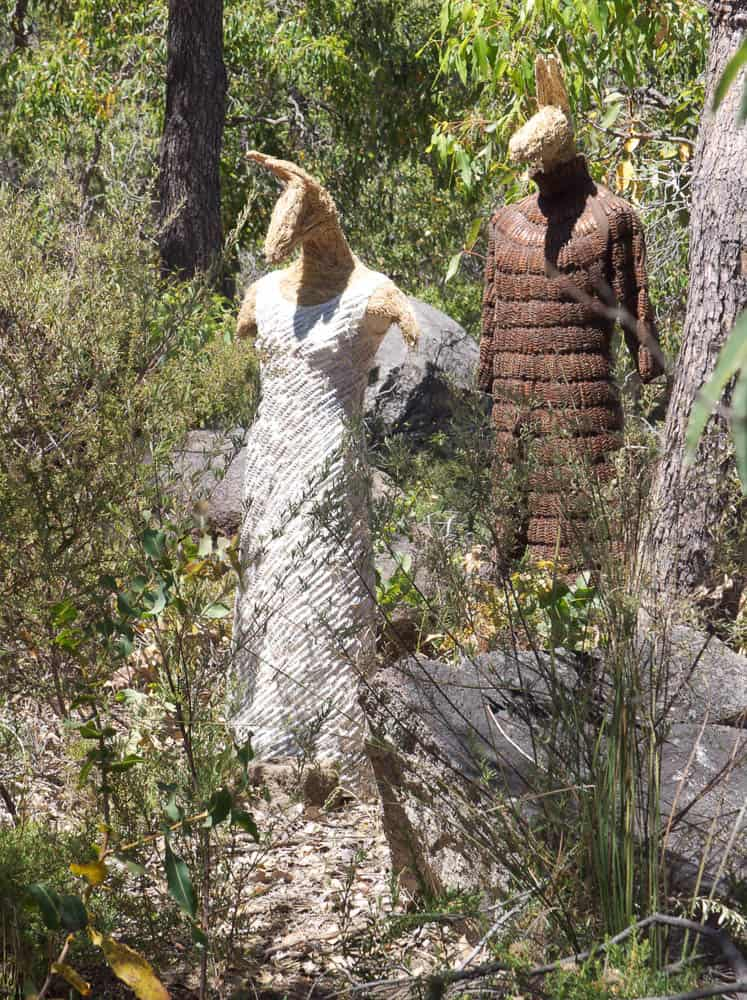 Nalda Searles, Kangaroo couple made over a period of 10 years both in the landscape and in domestic studio, salvaged clothing covered with grass tree spathes, grass fibre heads and torsos, all hand stitched, 2009, lifesize, photo: George Karpathakis