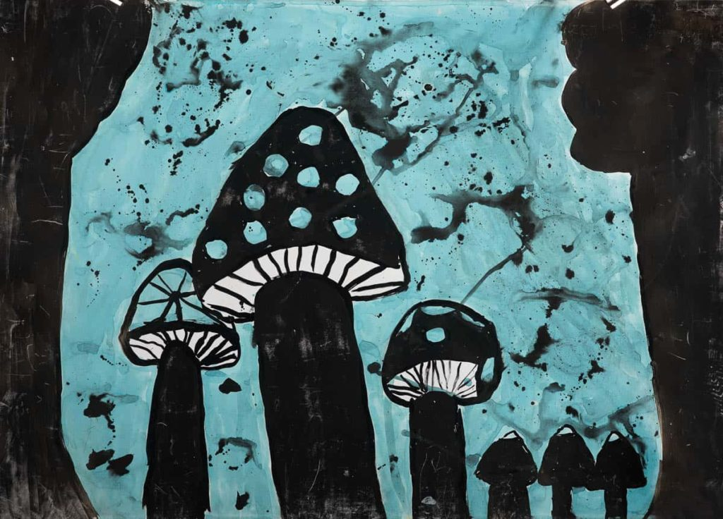Tamara Potter, Grade 5, Euroa Primary School, Painting on paper for Fungi Festival, 2016, 60 X40cm, photo: Mister & Lady Photography