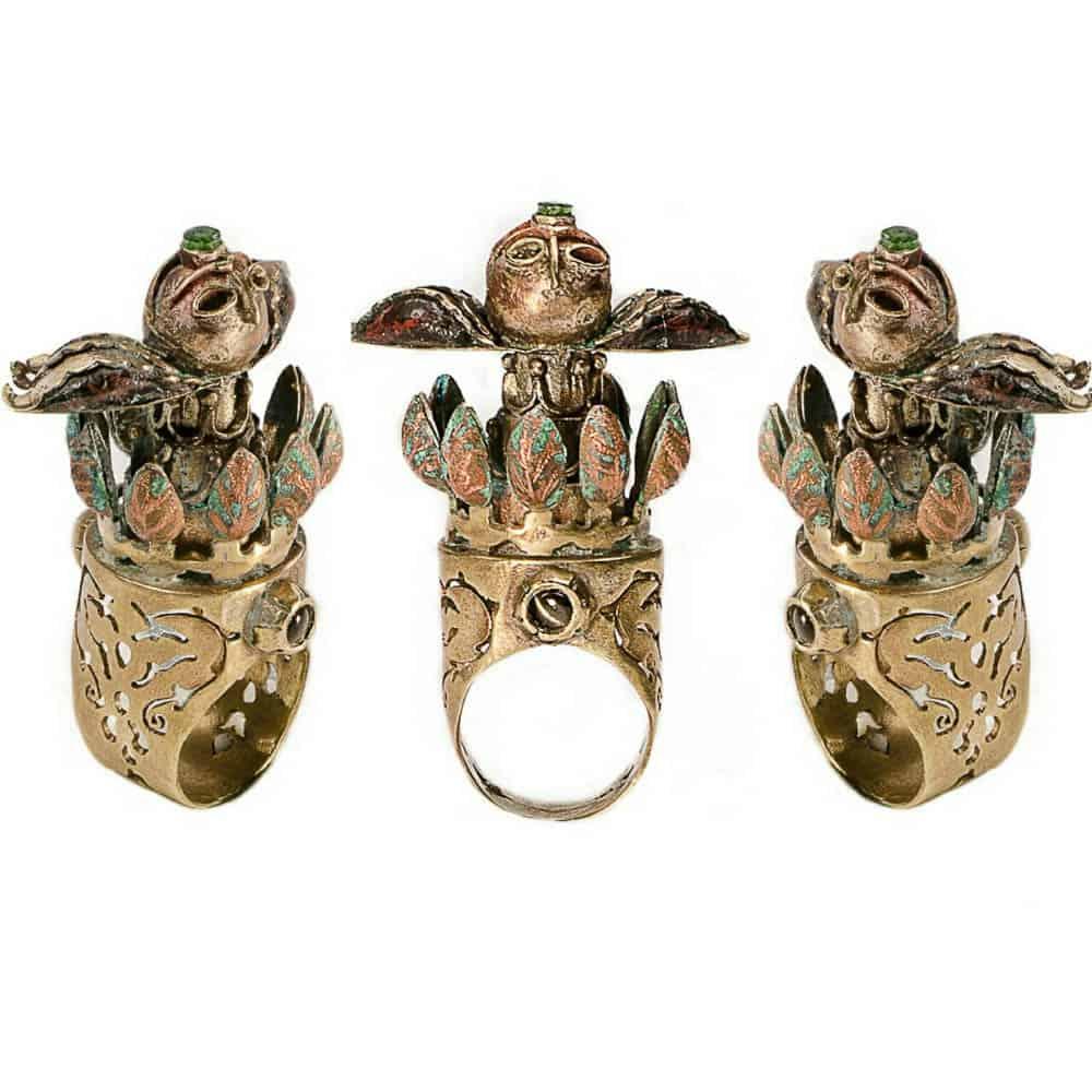 Baharak Omidfar, Sepandarmazgan(celebration of earth) 2016, brass, copper, emerald, phenomenon gemstone, glass, 3.6 cm×5.7cm