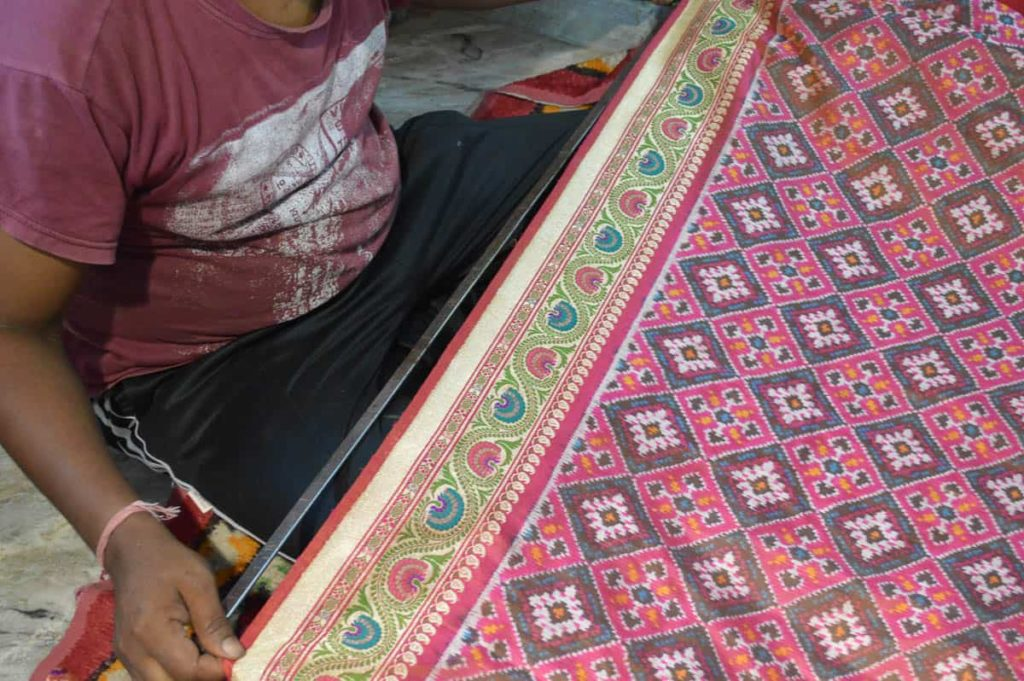 Ashavali Sari with the ikat pattern in the field