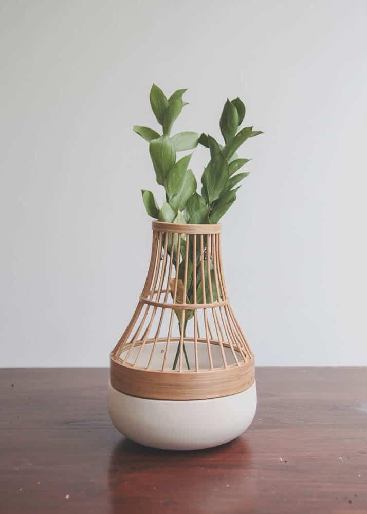 Harry Mawardi, See Through Vase series: Amygdala Bamboo, 2015, Bamboo+Ceramic, 15 x 17cm, photo: ibraabim