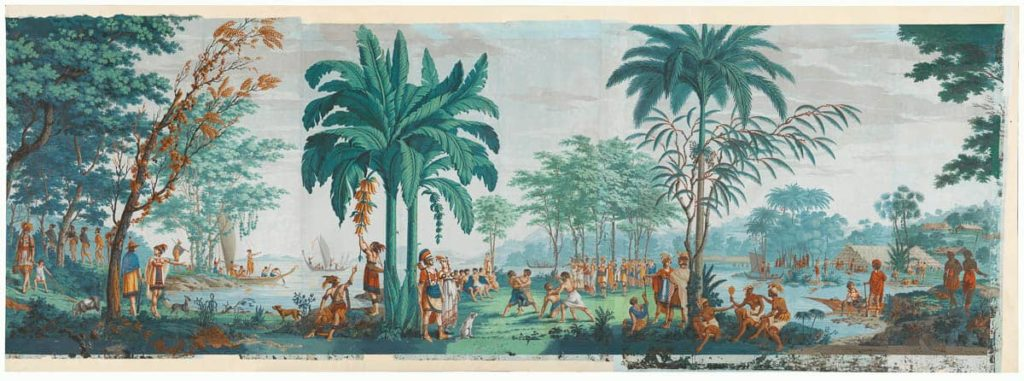 Dufour et Cie, printer & publisher, Jean-Gabriel Charvet, designer The Voyages of Captain Cook (Les Sauvages de la mer Pacifique) 1805, woodblock, printed in colour from multiple blocks hand-painted gouache through stencils, printed image (overall) 170 x 1060 cm, National Gallery of Australia, Canberra, purchased from admission charges 1982–83.