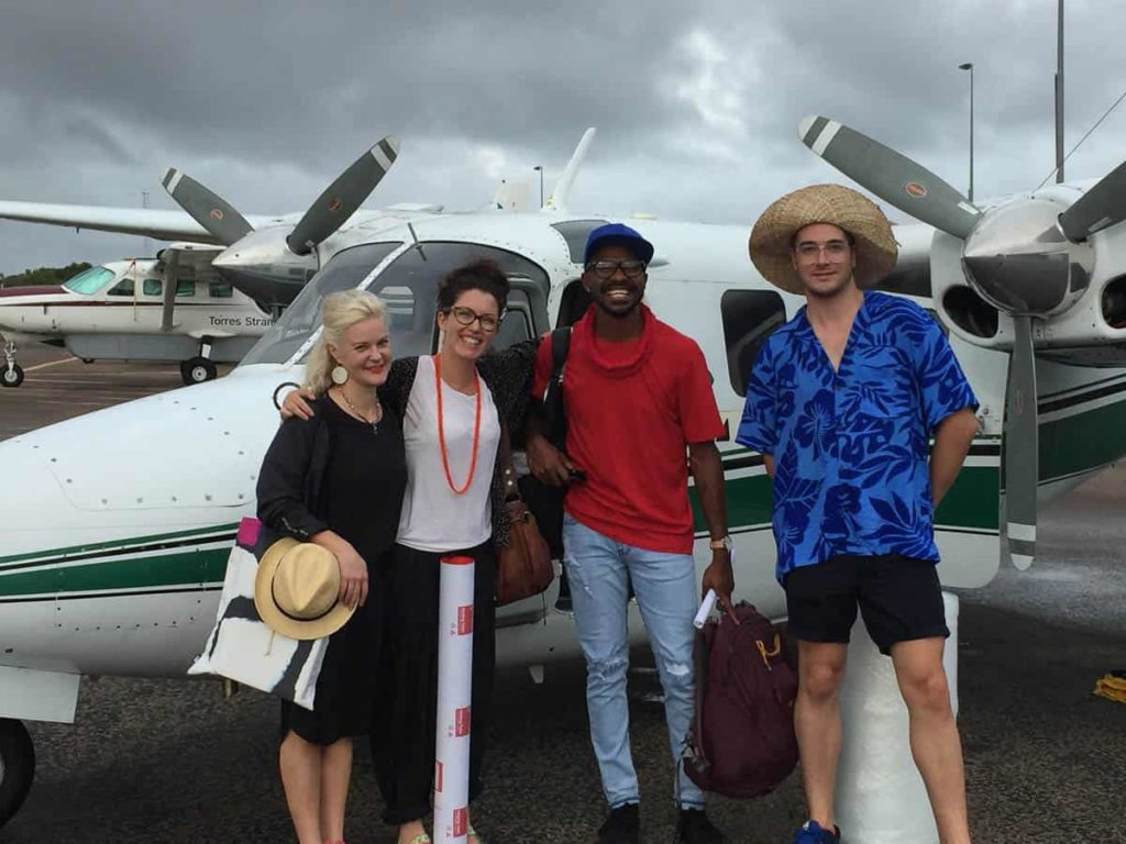 Simone LeAmon, Curator of Contemporary Design and Architecture (NGV), Torres Strait Islander artist, dancer and cultural attaché Hans Ahwang, Ashleigh Campbell Curator (CAG) and Myles Russell-Cook, Curator of Indigenous Art (NGV)