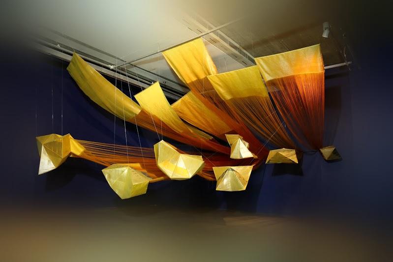 Yokings of the Felicity; Astha Butail (In collaboration with Raw Mango, M.Yasim); hand woven benarasi kimkhab textile (silk and gilded thread); weavers: Mustak Ahamad, Jagdish Prasad and Ramji Maurya; site specific dimensions; Gurgaon / Varanasi, 2013 – 2014