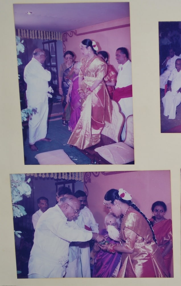 Photos from the wedding album of the Chennai resident, wearing her red bridal sari that was a reproduction of her grandmother's sari design.