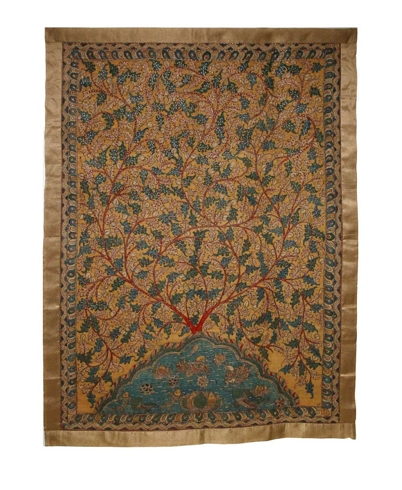 Embroidered kalamkari silk panel, India, 159 x 118cm