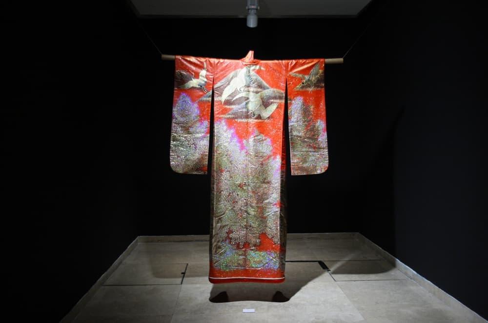 Gold embossed kimono robe, Contemporary, Japan