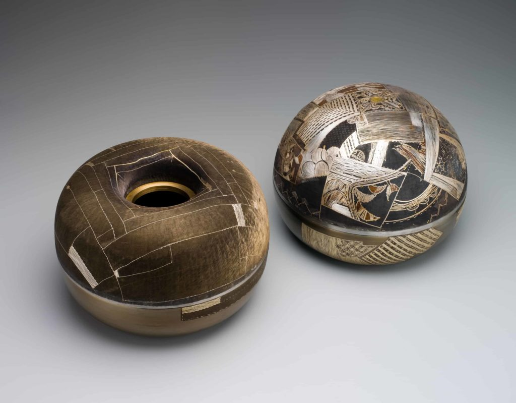 L4884/1 Bowl, oxidised steel/silver / gold / bronze / 'odong' in 'choum ibysa' technique, made by Joungmee Do, Melbourne, Victoria, Australia, 1999 L4884/2 Bowl, oxidised steel/silver / gold / bronze in 'choum ibysa' technique, made by Joungmee Do, Melbourne, Victoria, Australia, 1999 . Korean metal craft publication of PHM objects