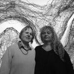 Lorraine-Connelly-Northey-and-Penny-Algar.Detail-_Murray-River-Cloak_-2008-in-background.-Wangaratta-Art-Gallery-2015.-Photo-Robert-Hirschmann.-JPG-e1448502254636