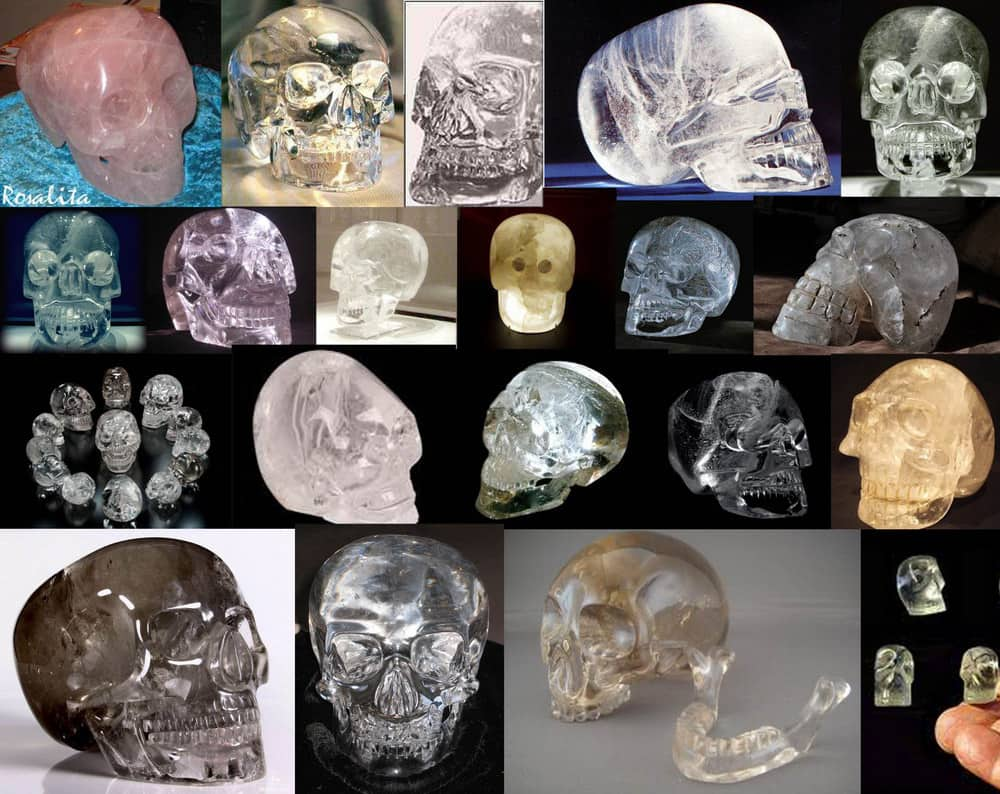 This collage made by the author of the text, collecting various examples of skulls made with natural glasses, carved and polished representing Mictlantecuhtli. I must say that some skulls represented here that are considered fakes, because they where made in the 1800 and where sold and traded in Europe. Others are neither pre-Hispanic nor fakes, but modern.