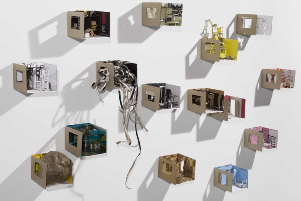 Annelize Mulder, 15 Rooms (installation view), cardboard wine boxes, 10.8 x 13.5 x 15.5 cm each, Faun Photography, made in Brisbane, Australia