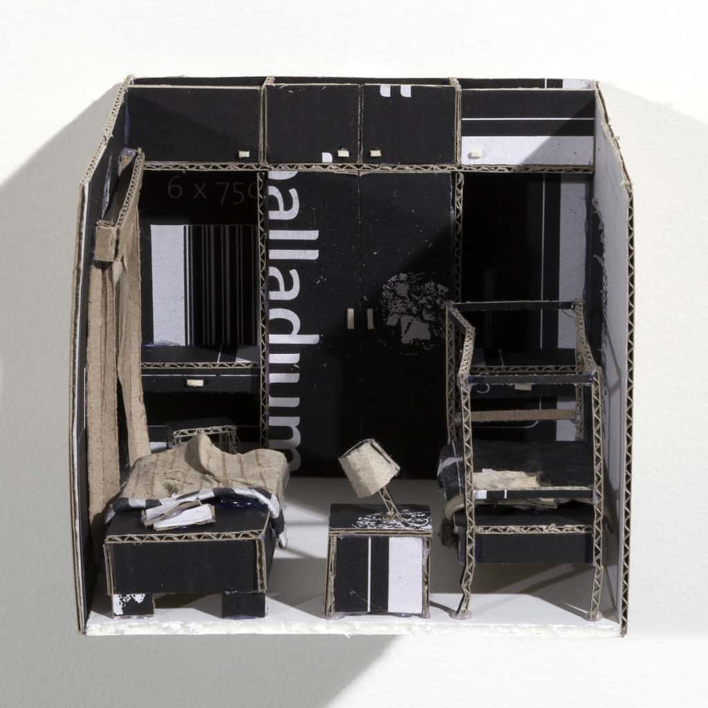 Annelize Mulder, 15 Rooms (one room), cardboard wine boxes, 10.8 x 13.5 x 15.5 cm each, Faun Photography, made in Brisbane, Australia