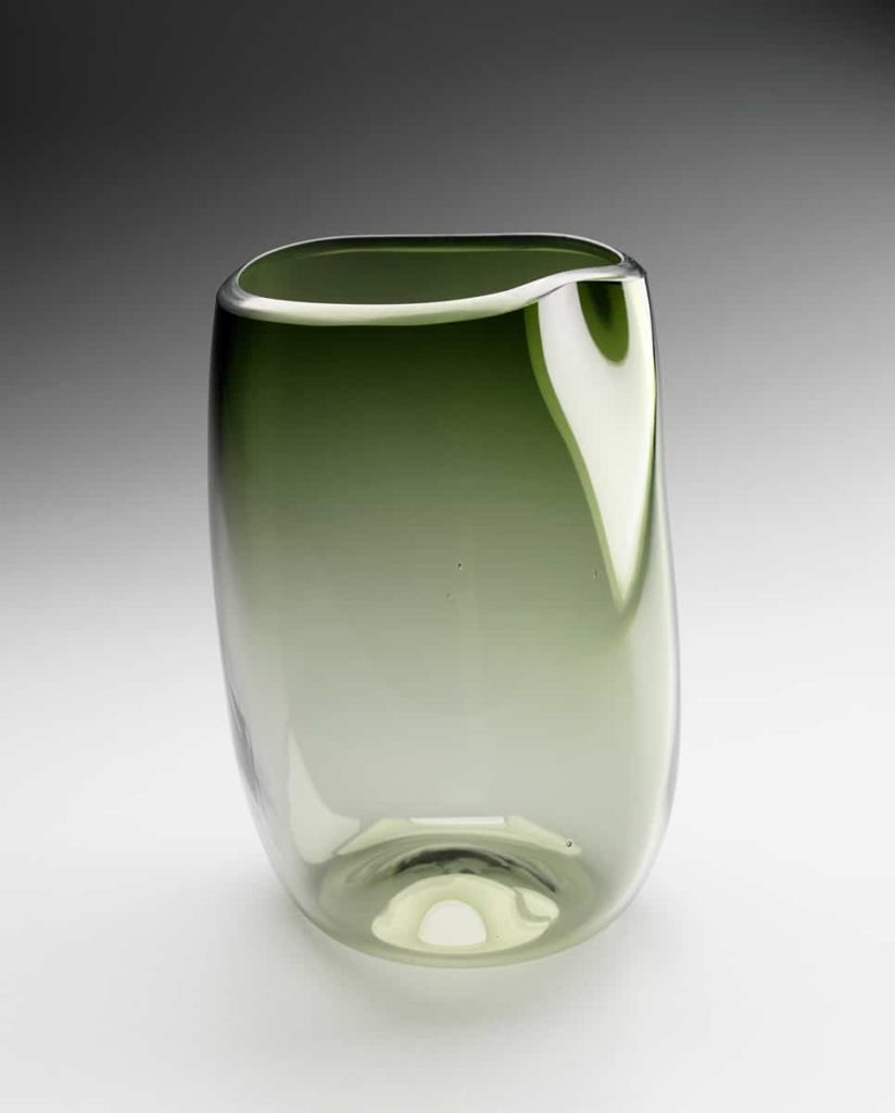 Deb Jones, Dint vase, 2005, blown with cut and polished lip, 300 H x 200mm diam
