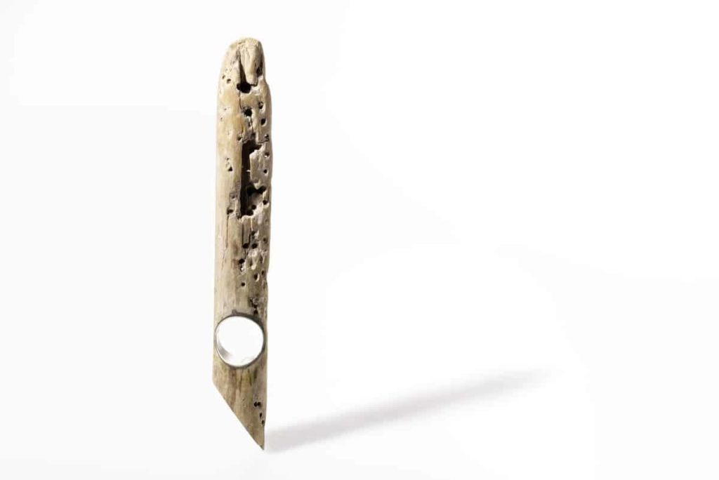 Martina Dempf, Time house, ring, 2009, drift wood, silver, wood carved, silver mounted, 11 x 3 x 2 cm