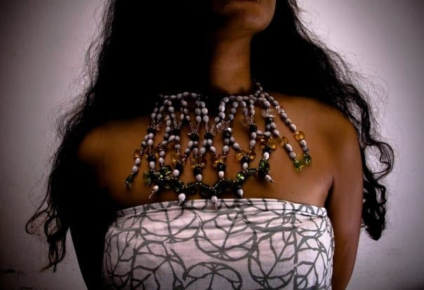 Lambert Ho, 'Adie Kelera' Fijian grass seeds, black wood beads and glass crystal pieces, made in Fiji