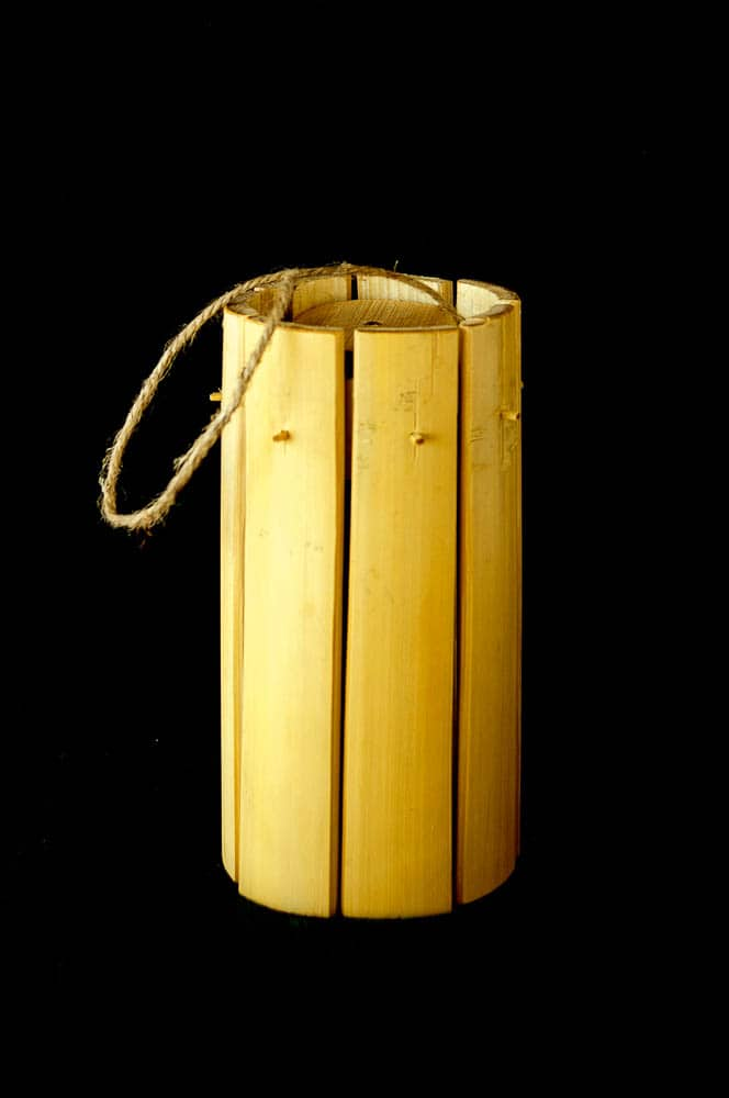 Neelam Varma, Found & Made Series - Natural Bamboo Hanging Lamp (After), 2016, Fallen Bamboo, Local Rope, 20.32 x 7 x 7cm, photo: Sheldon Healy, made in Bandhavgarh Tiger Reserve, India