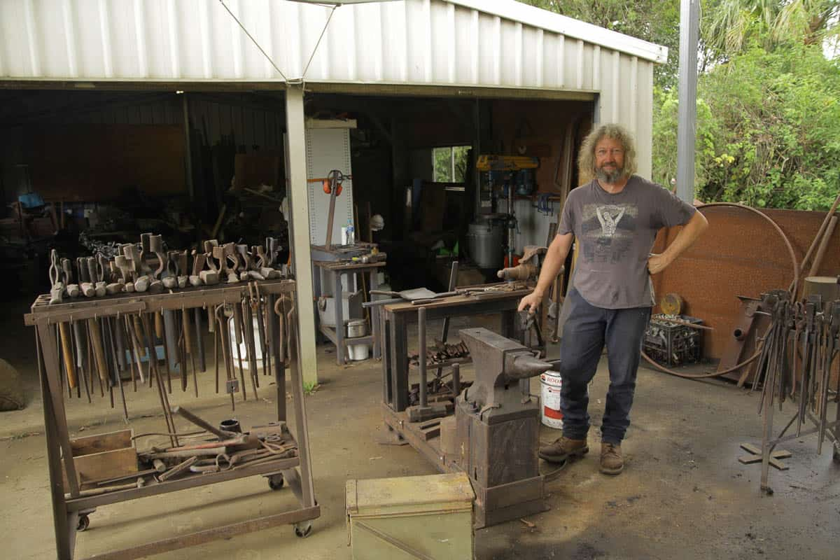 Blacksmith David Bradley in his workshop, photo: Richard Stride
