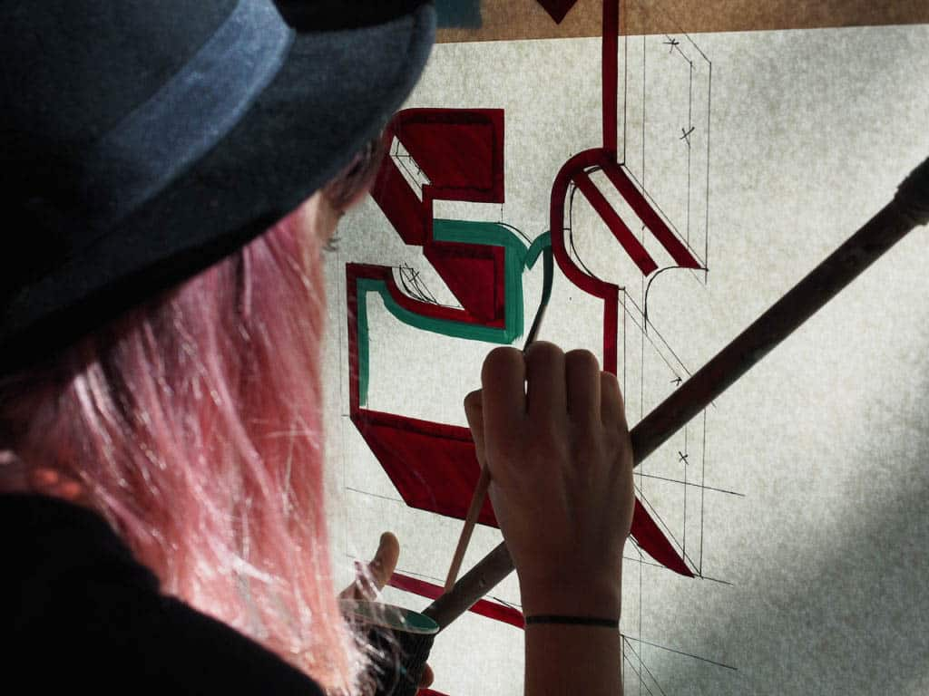 Emily Devers at work, courtesy of the artists