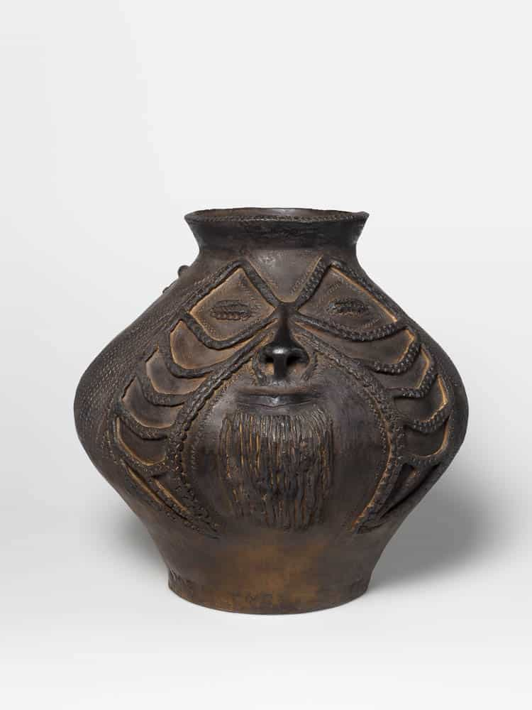 Mary Gole, Water storage pot - man's face, 2013, hand-thrown earthenware with incised decoration and beeswax, 39 x 40 x 43cm, purchased 2015, Queensland Art Gallery, Gallery of Modern Art Foundation, photo: Natasha Harth, courtesy Queensland Art Gallery l Gallery of Modern Art