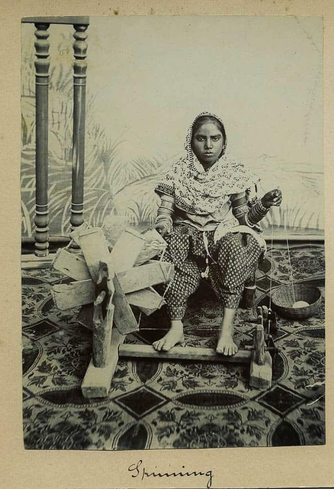 Indian Women Using A Spinning Wheel - c1900's