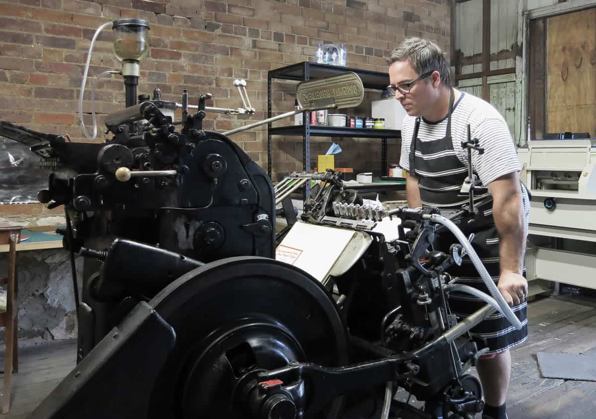 Little Peach Co, David Atkinson with Heidelberg Platen Press, courtesy of the artist