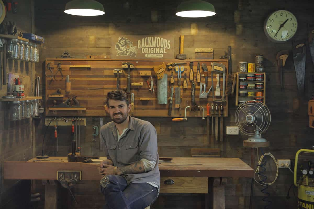 Woodworker Aaron Barton in his studio. Image courtesy of the artist