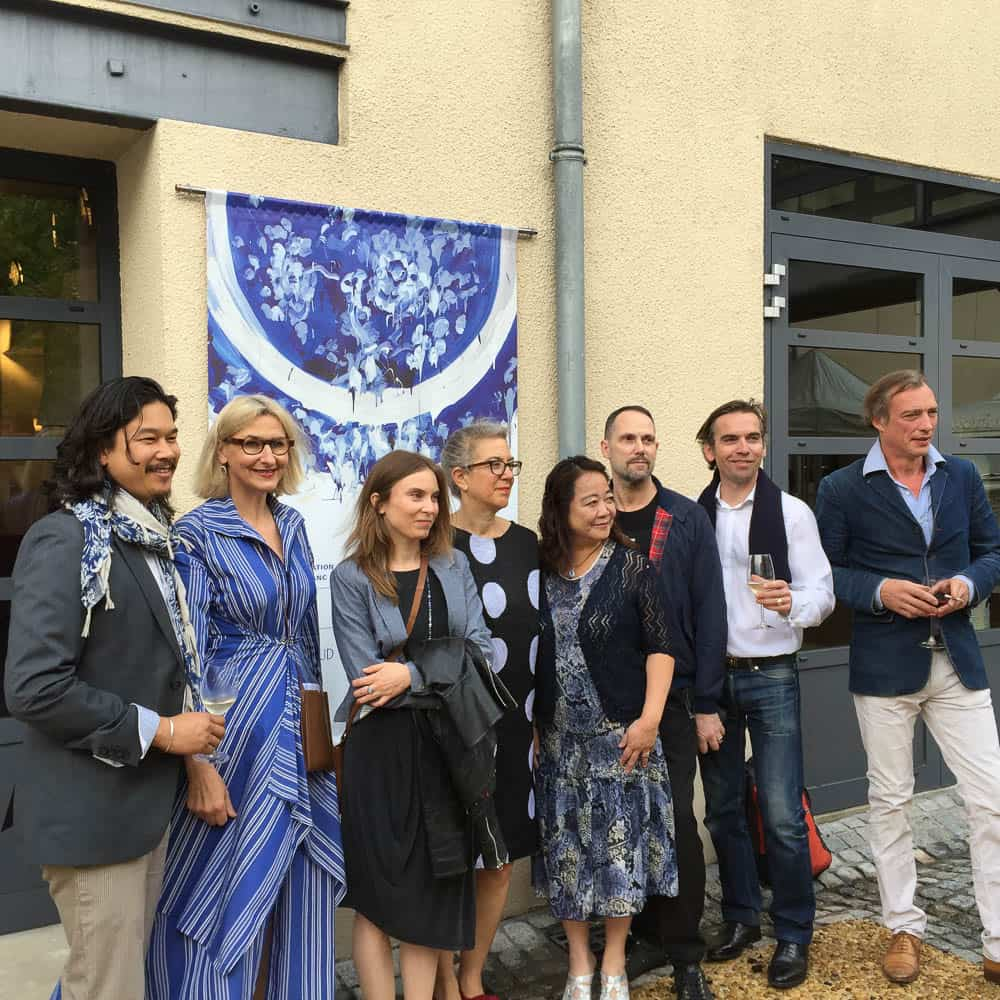 "Director Hélène Huret with artists for ""My Blue China"" Exhibition"
