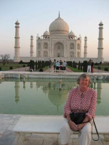 Maron Hosking in front of the Taj Mahal, an inspiration for her silver jewellery.