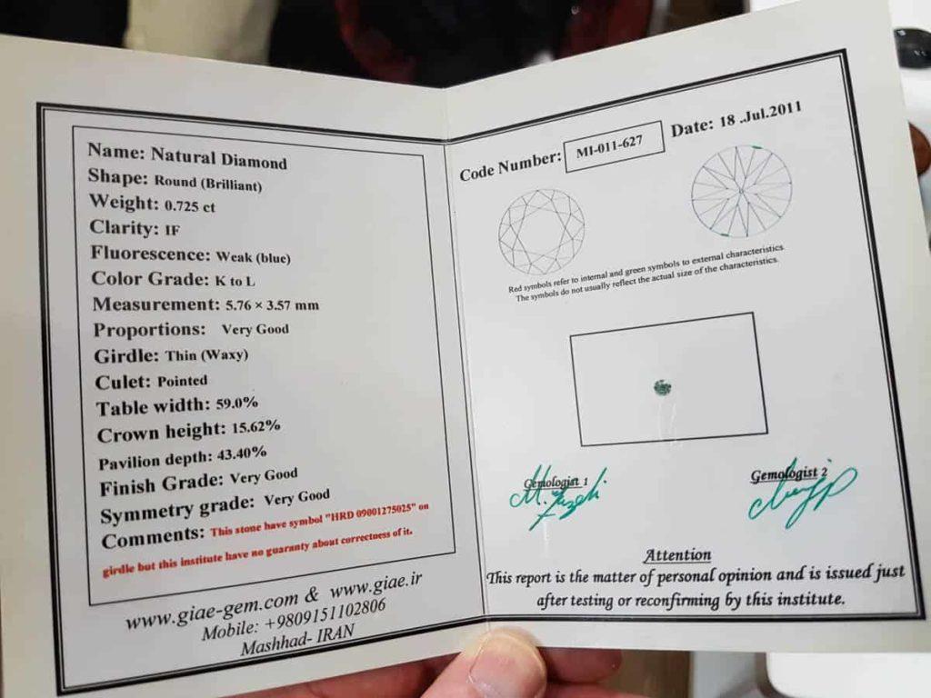 Certificate of authenticity for precious stones.
