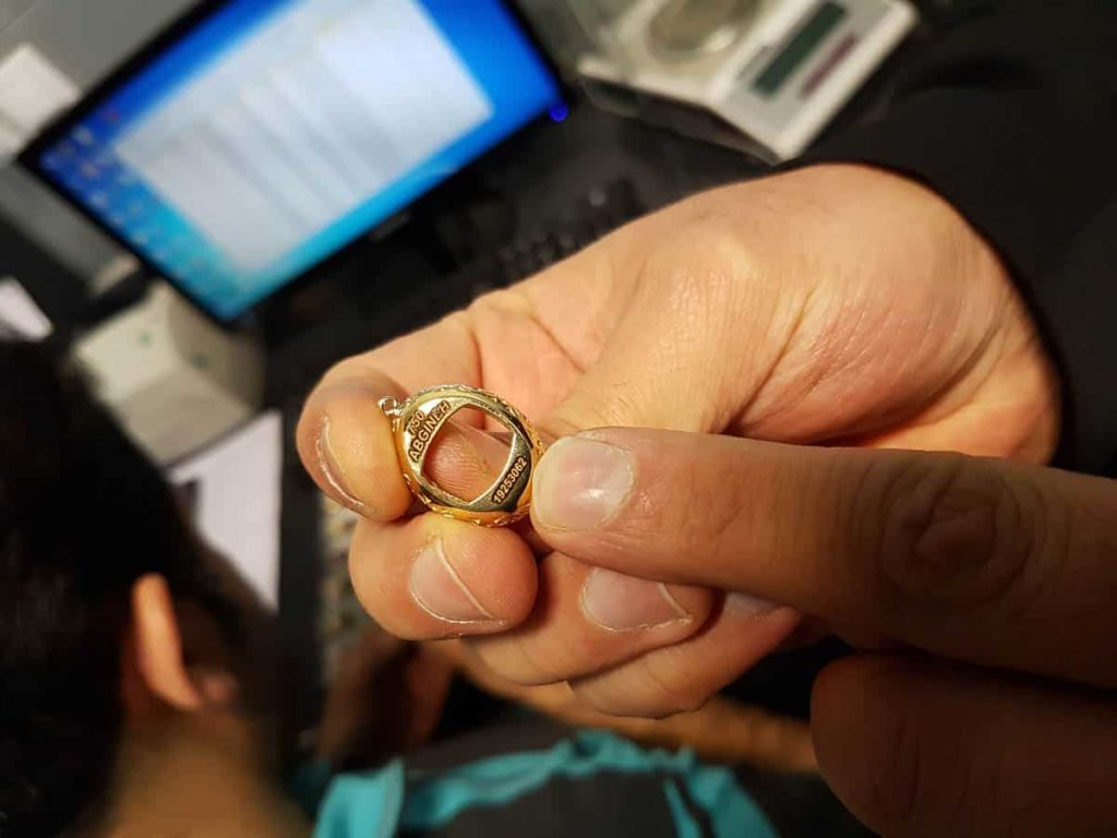 Each ring has a unique code for authenticity.