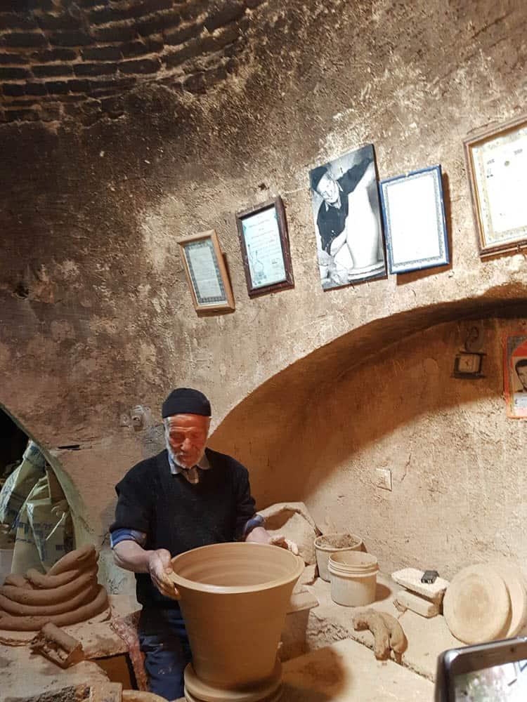 Mr Asgari in his workshop, Lalejin