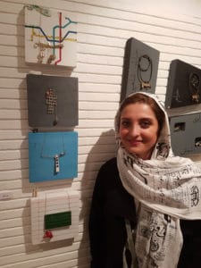Mahrooz Beladi, graduate of Mahe Mehr Institute at the exhibition of art jewellery celebrating the Day of Tehran.