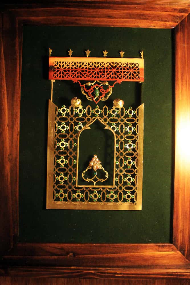 "Ailin Abrishami, Integrated jewelry and wood panels ""shahnameh baysonghori"", 2015, brass and stone and wood, 40 x 50cm"