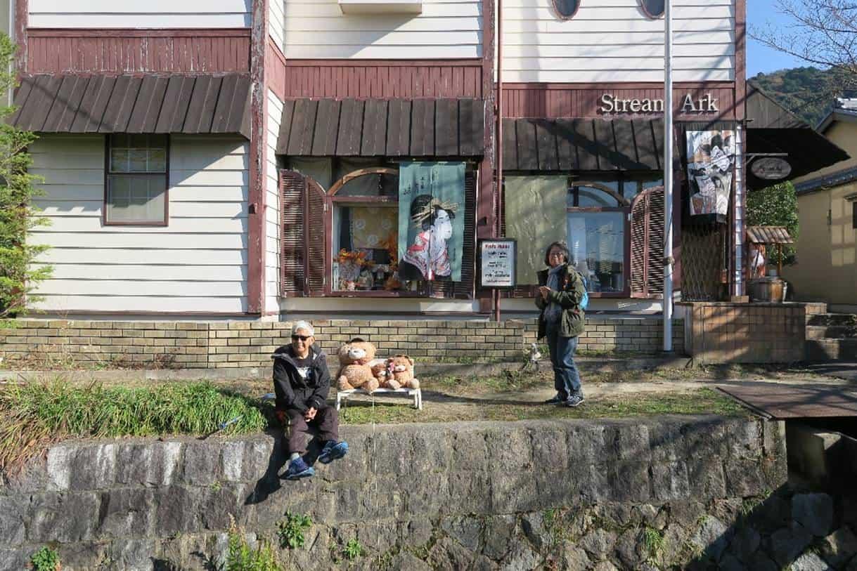 Iskandar taking a break in front of one of the shops that line the Philosopher's Walk.