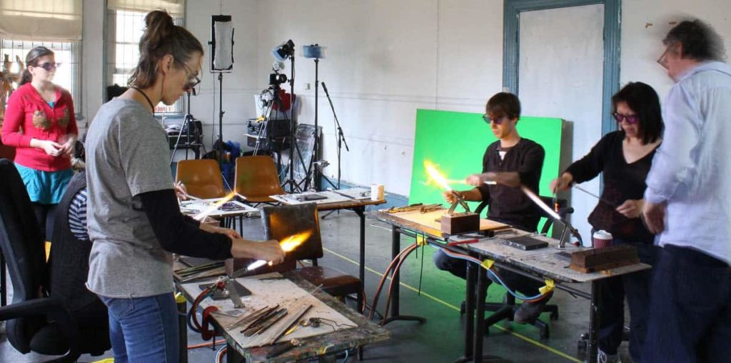 A process shot from the first flame-glass animation workshop, run by Jack and Mark with Spike Dean assisting in 2012, photo: Jack McGrath