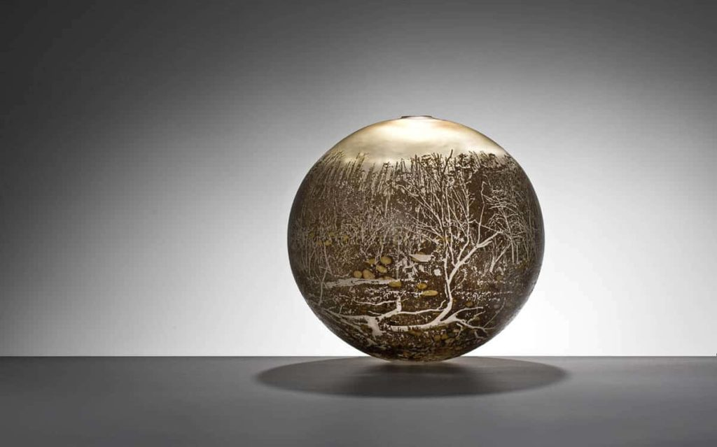 Holly Grace, Dargal Trail, H34cm x W34cm x D34cm, glass powder and metal leaf surfaces and sandblasted landscape imagery