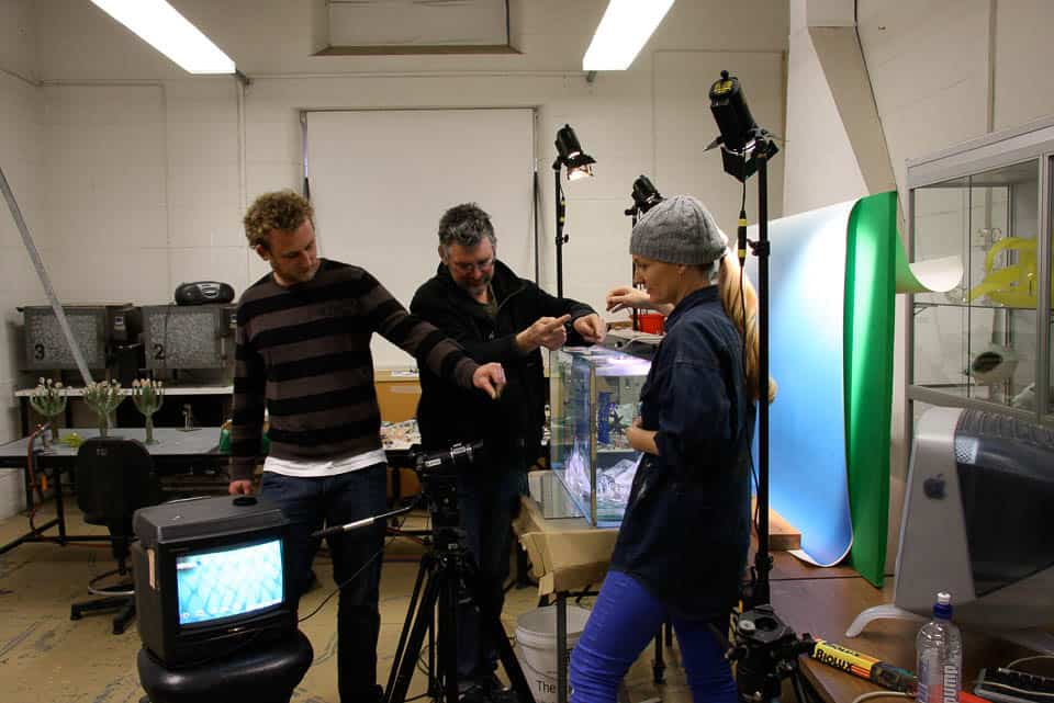 As a process shot of Jack McGrath, Vanessa White and Mark Elliott in the studio at Sydney College of the Arts in 2009 experimenting with a fish tank during the making of Dr Mermaid