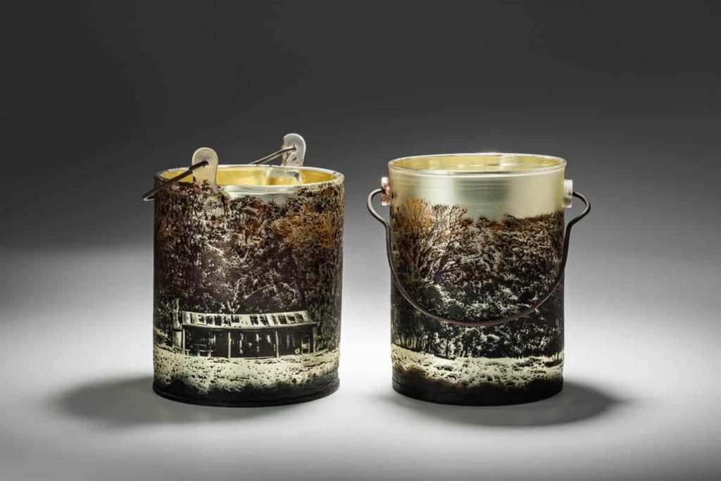 Holly Grace, Oldfields Hut - Billy Cans i & II, 2016, 2p set, overall dimensions H22cm x L40cm x D18cm