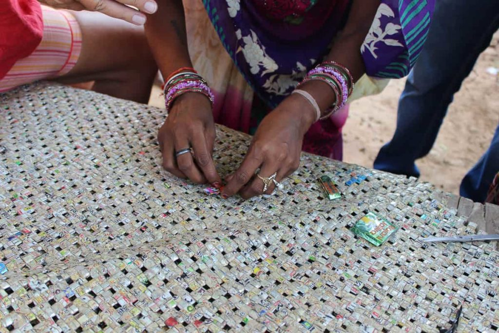 The process of making waste plastic mats as shot by Nidhi Khurana
