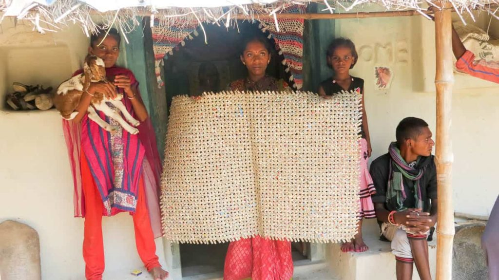 The recycled plastic and mat weaving women as photographed by Nobina Gupta