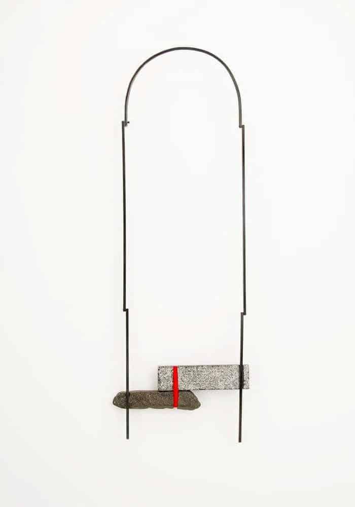 Aiza Mahmood, Necklace 4, 2015, iron, river stone, granite, 45.7cm X 16.5cm