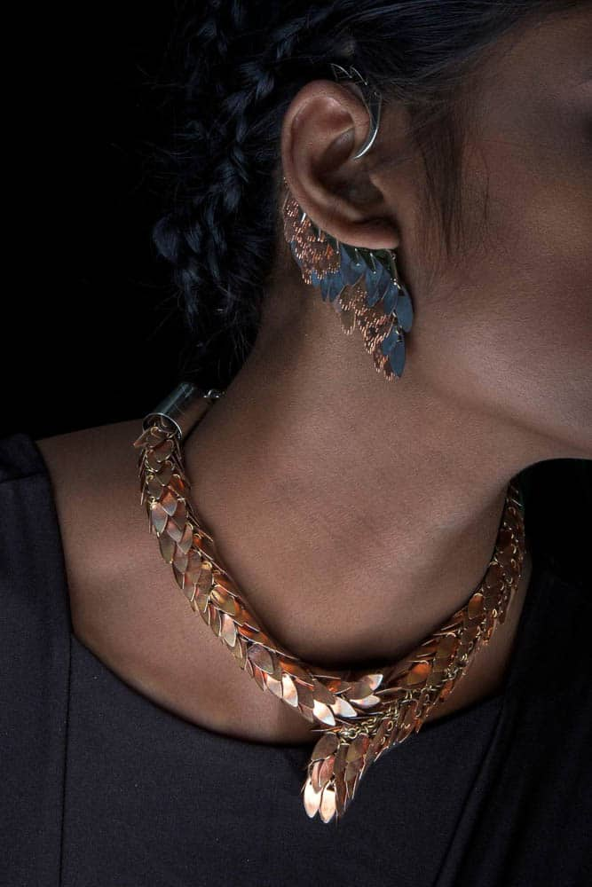 Zohra Rahman, Neckpiece and earrings from 'The Gold are Venomous' collection, photo: Matthew Monfredi