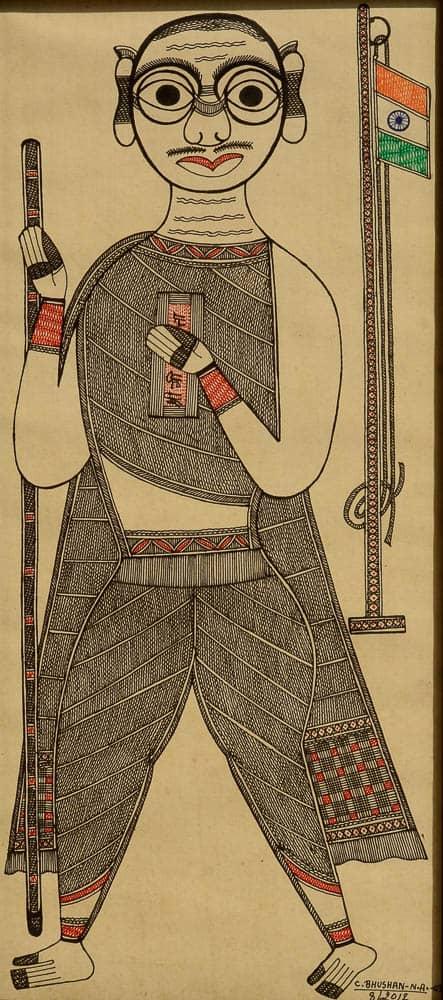 Bapu with the Tricolor Madhubani Painting Bihar, 16x8cm