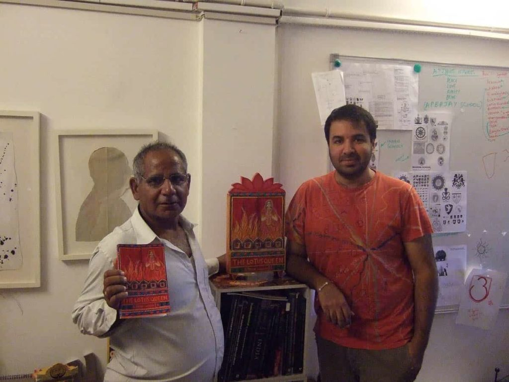 Look who walked into Ishan Khosla Studio today. Dwarka Prasad from Bassi, Rajisthan, the Kaavad painter who made the work on the cover of The Lotus Queen